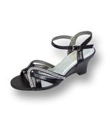 FIC FLORAL Leah Women Wide Width Open Toe Curvy Rhinestone Strips Wedge ... - $53.95
