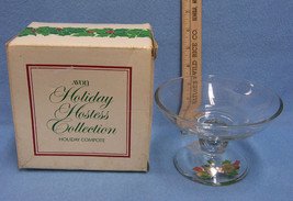 Avon Vintage Clear Glass Holiday Compote in Box Holly Serving Pedestal B... - $9.40