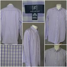 George casual dress shirt 2X (50/52) purple & white  plaid button down c... - $6.98
