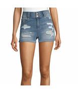 Blue Spice Women's Juniors Super High Waist Destructed Shorts Size 9 Med... - $26.72