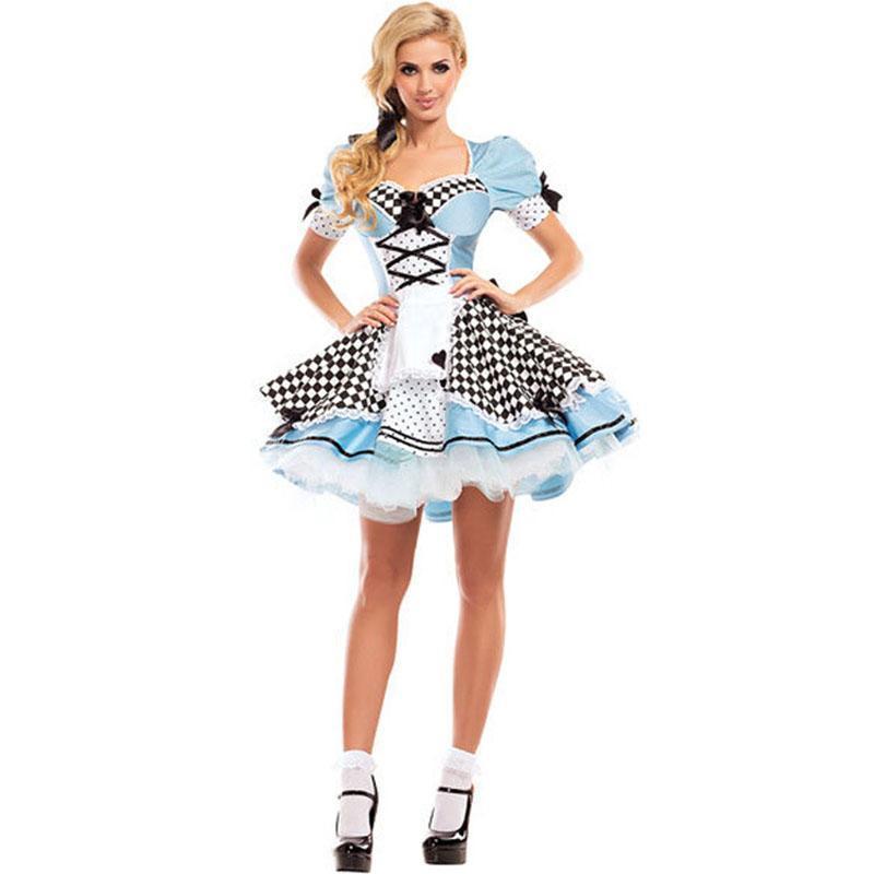 Onderland costume for women girls alice cosplay costume blue sweet lolita maid fantasy halloween