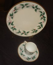 3 Piece Mikasa Ribbon Holly Plate, Tea Cup & Saucer - $24.70