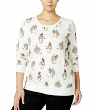 Style&Co Tee Shirt Top White Size 3X Plus Squrrels Rhinestones NEW RL142 - $17.77