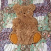 Baby Quilt Handmade Soft Plush Blue Eyed Teddy Bear Patchwork Blanket Cover - $88.36