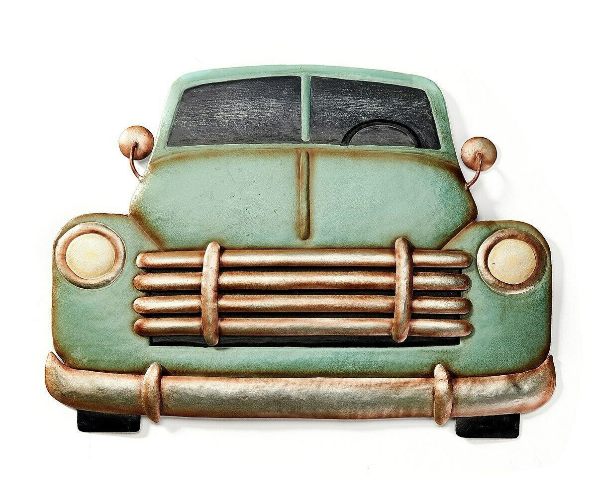 "16"" Antique Look Truck Design Metal Wall Plaque - Green"