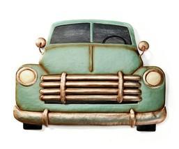 """16"""" Antique Look Truck Design Metal Wall Plaque - Green"""