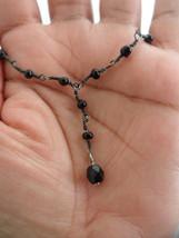 16 Inch Station Necklace Black Y Necklace Delicate Drop Necklace Y Choke... - $23.00