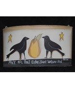 Metal Welcome Sign Two Old Crows Hanging Slot Bin Home Garden Patio Accent - $12.95