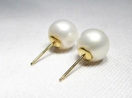 14K Yellow Gold 7.8mm Pearl Earrings C2000 - $56.99