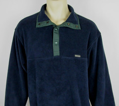 Woolrich Snap-T fleece jacket USA Made Navy Blue Mens Size L - $18.76