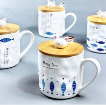 Cute Cat and Fish Animal Mug Ceramic Coffee Milk Tea Cup + Wooden Cover ... - $24.94