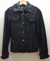 GUESS Ladies Womens Black Soft Leather Jacket Tapered Waist Ruffle SUPER... - $122.50