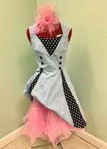 1950 Rockabilly Baby Blau Polk A Punkt Crinoline Und Haarteil Kostüm Hal... - $79.66