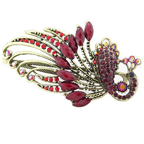 Retro Peacock Pattern Luxury Aulic Style Crystal Bronze Alloy Hair Claws, Red