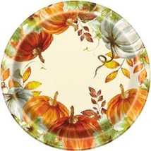 Watercolor Fall Pumpkin 8 Ct 10.25 in Banquet Dinner Plates - $5.49