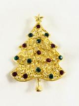 Vintage Rhinestone Christmas Tree Brooch - $12.62