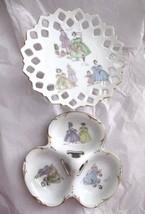 VTG 50's Lefton Victorian Dress Porcelain Pedestal Candy & Trefoil Nut D... - $44.54