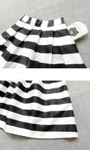 Women White Black Strip Pleated Midi Skirt A-line High Waist Pleated Plaid Skirt image 6