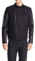 NEW MENS CALVIN KLEIN OBLIQUE ZIP BLACK URBAN MILITARY CORE BIKER JACKET... - $59.99