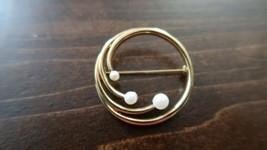 Vintage Gold Tone Monet Pearl Pin Brooch 3.3cm - $19.79