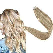 Art Hair Tape Human Hair Extensions 16 Inches Color 16P24 Golden Blonde Mix Ligh image 1