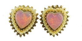 Vintage Bronze Venetian Foil Art Glass Heart Cab Pearls Gold Screw Back ... - $38.69