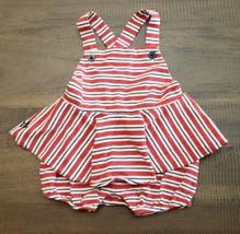 Ralph Lauren Baby Girl Size 6 M Navy/Red Stripe Skirted Shortall Romper X Strap - $15.81