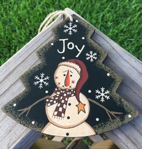 Primitive Wood WL022 Joy Tree  Snowman Christmas Ornament  - $3.95