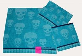 3 Betsey Johnson Crazy Skulls Aqua /Turq Bath/Hand/Wash Cloth Towels Set Nwt - $39.99