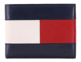 Tommy Hilfiger Men's Premium Leather Double Billfold Passcase Rfid Wallet Navy image 4