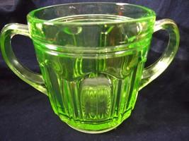 Antique Green Vaseline Double Handle Sugar Bowl Uranium Glass Depression... - $23.33
