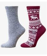 Cuddl Duds Women's Reindeer Fair Isle 2pk Boot Socks One Size 9-11 - $12.90