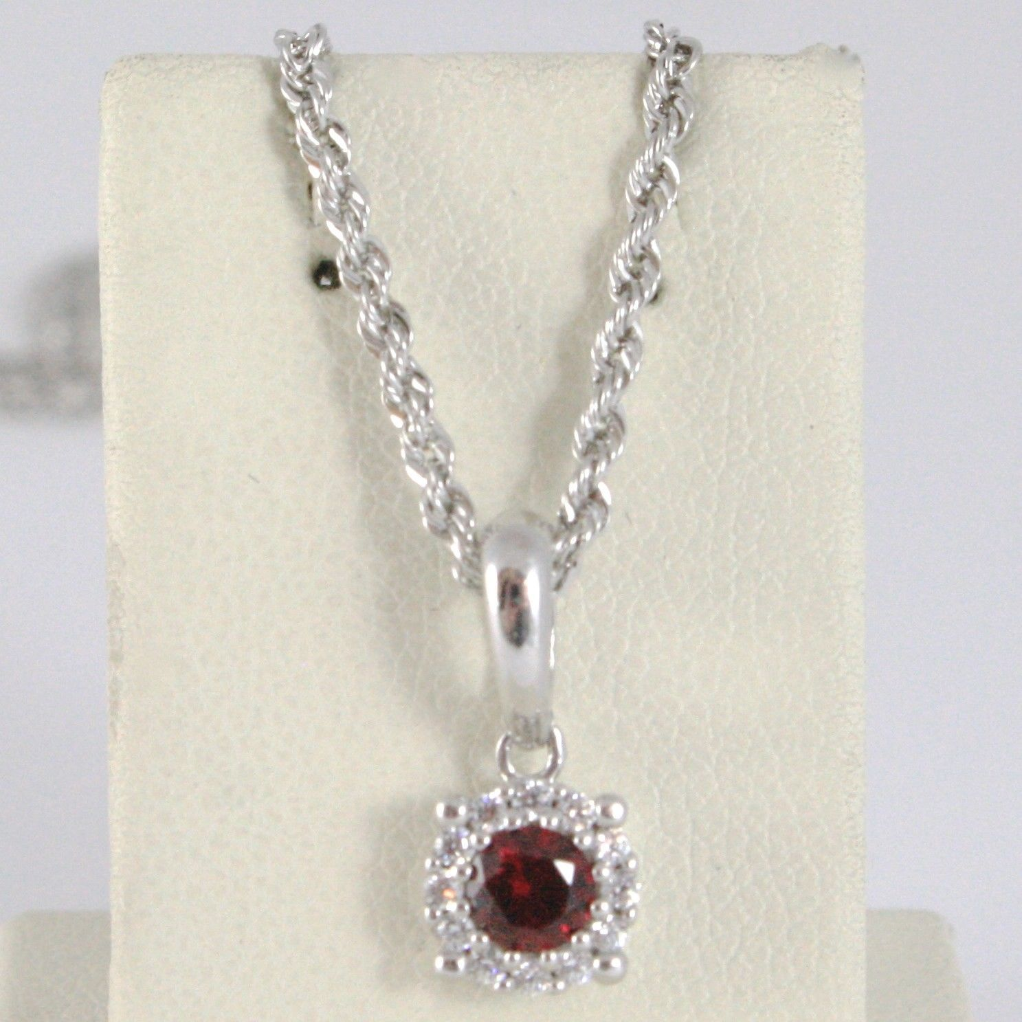 18K WHITE GOLD NECKLACE ROPE CHAIN & FLOWER PENDANT, RED ZIRCONIA ROUND CUT