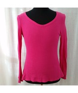 Thermal Shirt Pink Waffle Knit Womens Large Long Sleeve Winter Warm Juniors - $5.00