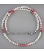 Mother Pearl, Pink Opal & Rhodonite Gemstone Beads Necklace in 925 Silve... - $29.99