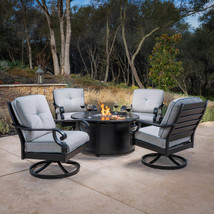 Sunvilla Sunbrella Cast Aluminum Fire Pit Chat Set Outdoor Patio Furnitu... - $2,595.00