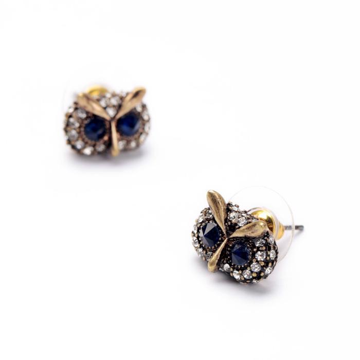 Imitated Jewelry  Factory Fashion Retro Lovely Owl Ladies Ear Studs Peridot
