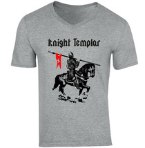 KNIGHT TEMPLAR 16 - NEW COTTON GREY V-NECK TSHIRT - $20.70