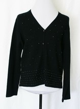 Liz Claiborne Womens Cardigan Sweater Black Beaded Large Sport - $9.48