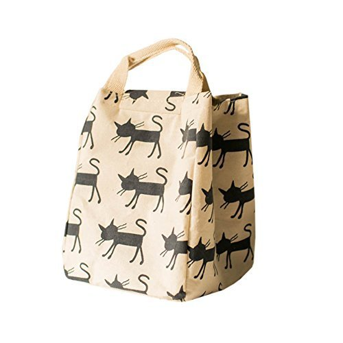 Canvas Reusable Lunch Box Portable Lunch Bag Tote Bag, White, Cat