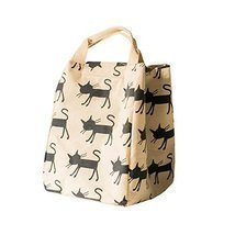 Canvas Reusable Lunch Box Portable Lunch Bag Tote Bag, White, Cat - £10.19 GBP