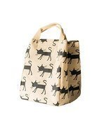 Canvas Reusable Lunch Box Portable Lunch Bag Tote Bag, White, Cat - £10.03 GBP