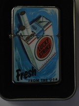 Vintage Art Work Windproof Dual Flame Torch Lighter Lucky Strike Fresh - $23.70
