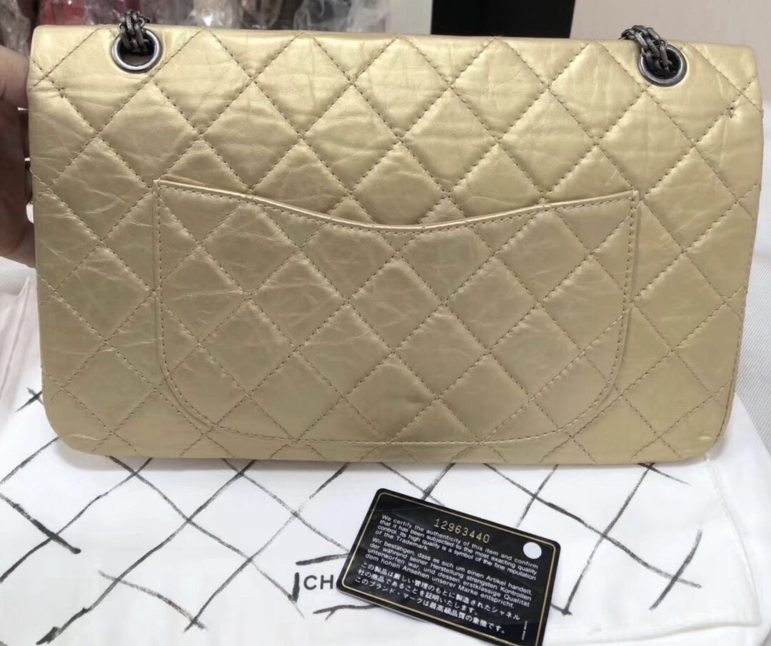 2ba347445684d7 AUTH Chanel Classic 2.55 Reissue 227 Jumbo Double Flap Bag Champagne ...