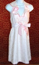 BETSEY JOHNSON pink eyelet halter dress 2 (TC1-03H8G)* - $40.57