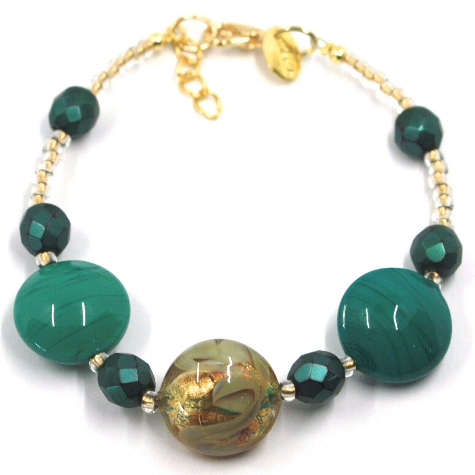 """BRACELET GREEN YELLOW MURANO DISC GLASS & GOLD LEAF, MADE IN ITALY, 20cm, 7.9"""""""