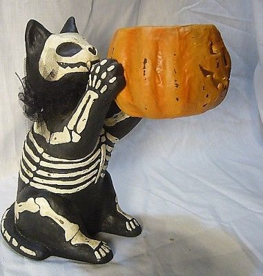 Bethany Lowe Halloween cat with Skeleton costume  Candle in Jack O