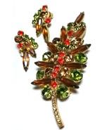 VINTAGE JULIANA LARGE GREEN BROWN ORANGE RHINESTONE BROOCH PIN CLIP ON E... - $95.00