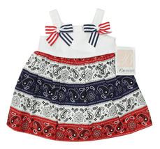 BONNIE BABY NEW INFANT GIRLS 2PC RED PAISLEY PATRIOTIC BANDANA DRESS 12M - $19.79