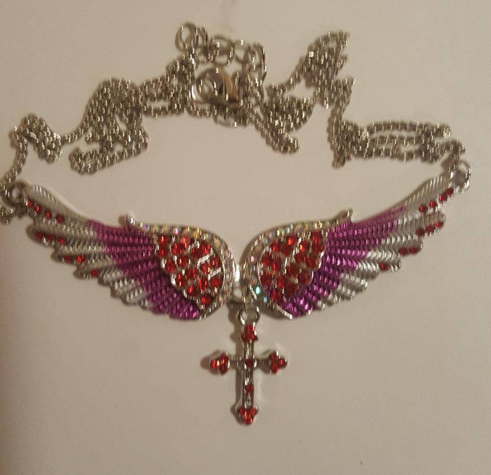 Angel Wing Christian Necklace  Red